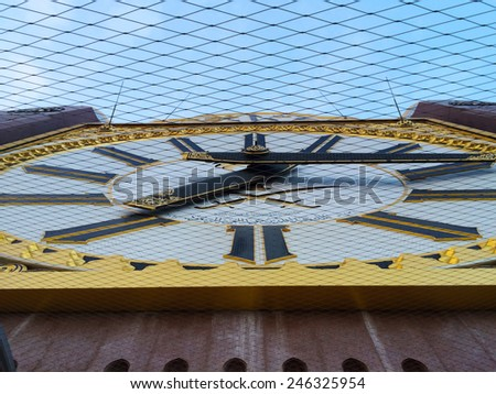 MECCA,S.ARABIA-DEC 21:  Closeup giant Clock at Tower Makkah Abraj Al Bait on Dis 21, 2014 in Makkah. The tower is the tallest clock tower in the world at 601m, built at a cost of USD1.5 billion - stock photo