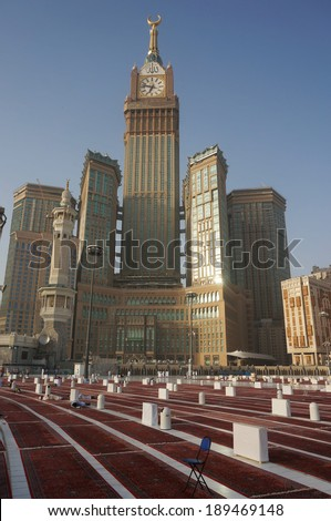 MECCA, S.ARABIA-MAY 31: Abraj Al Bait (Royal Clock Tower Makkah) on May 31, 2013 in Makkah. The tower is the tallest clock tower in the world at 601m (1972 feet), built at a cost of USD1.5 billion. - stock photo