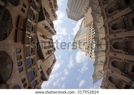 MECCA, SAUDI ARABIA-CIRCA MAY 2015: Lower view of Minarets and building around Makkah holy mosque on MAY, 2015 in Makkah, Saudi Arabia.