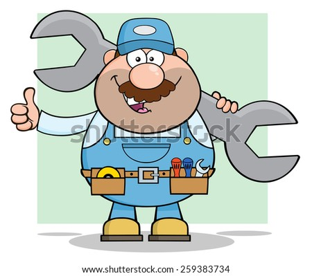 Mechanic Cartoon Character Holding Huge Wrench And Giving A Thumb Up. Raster Illustration With Background - stock photo