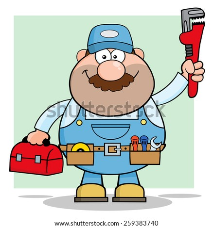 Mechanic Cartoon Character With Wrench And Tool Box. Raster Illustration With Background - stock photo