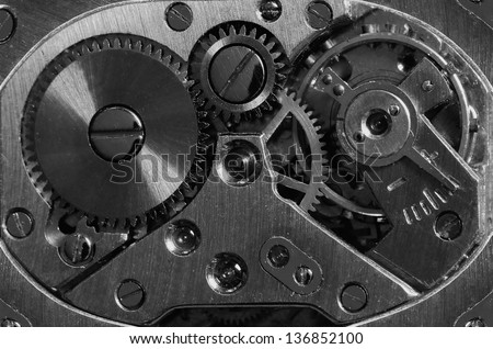 mechanic clockwork with gears, spring, ruby.