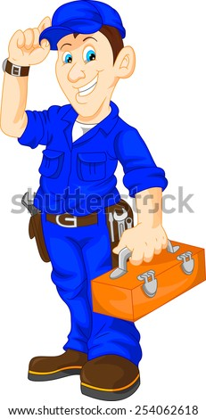 mechanic holding utility box - stock photo