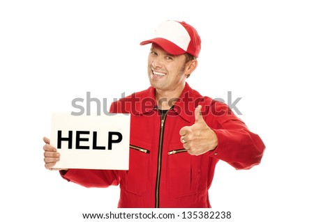 "Mechanic in red Overall holding a sign with ""HELP"" and doing a thumbs up - stock photo"