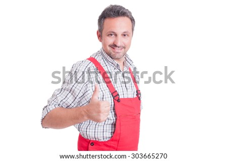 Mechanic or electrician showing like or thumb-up gesture smiling confident and successful isolated on white - stock photo