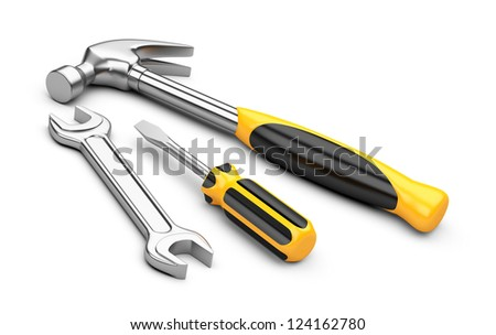 Mechanic tools set. screwdriver, wrench and hammer isolated on white background. - stock photo