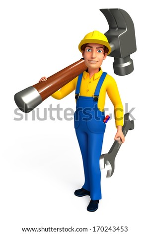 Mechanic with hammer and wrench