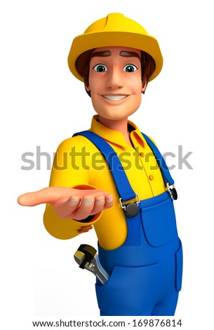 Mechanic with presenting - stock photo