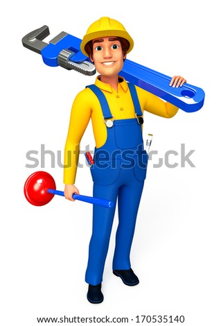 Mechanic with wrench and toilet plunger