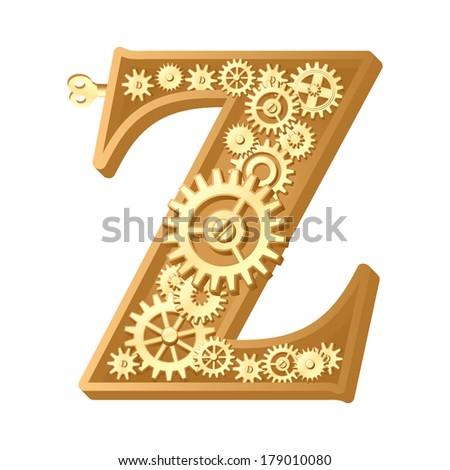 Mechanical alphabet made from gears. Letter z. Raster version - stock photo