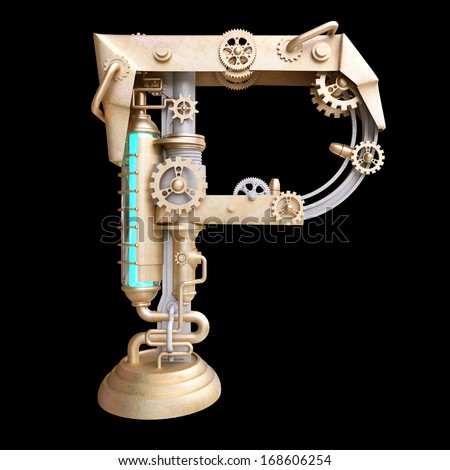 Mechanical alphabet made from iron. Letter p. - stock photo