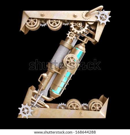 Mechanical alphabet made from iron. Letter z. - stock photo