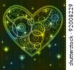 Mechanical black and green Valentine heart with key - stock photo