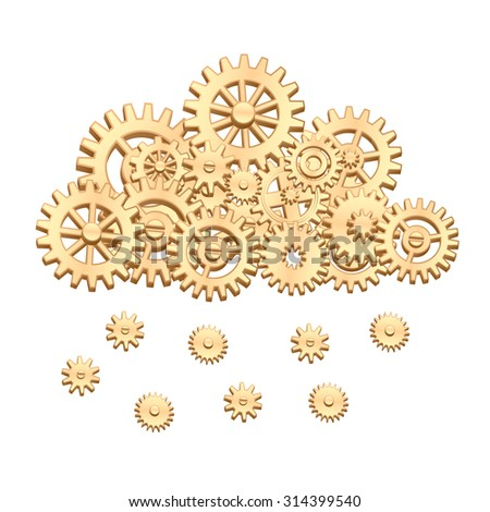 Mechanical cloud made from gears with snowflakes or raindrops - stock photo