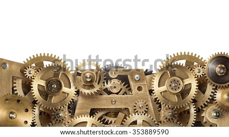 Mechanical collage made of clockwork gears on white background - stock photo