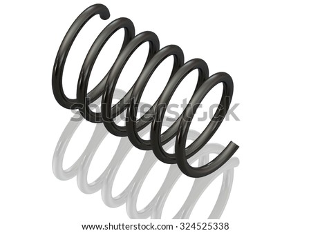 Mechanical Compression Spring Coil spring wire isolated on white - store energy method for vehicle suspension - stock photo