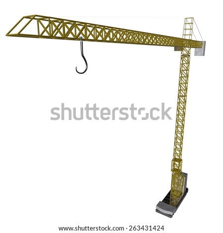 Mechanical crane isolated over white background, 3d render - stock photo