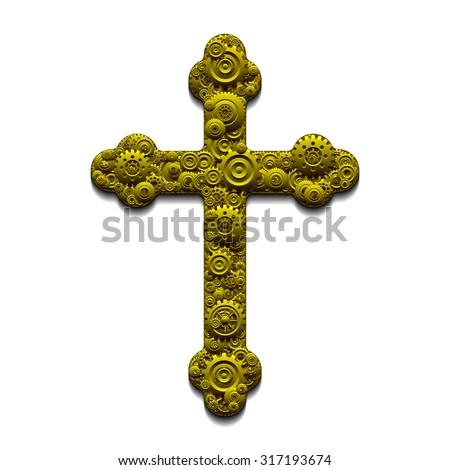 Mechanical Cross - stock photo
