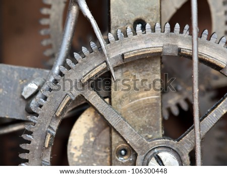 Mechanical details of an old cuckoo clock - stock photo