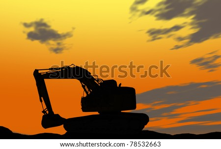 Mechanical digger silhouette - stock photo