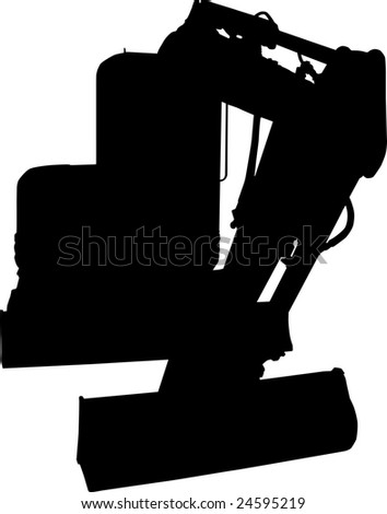 Mechanical digger silhouette isolated on white background