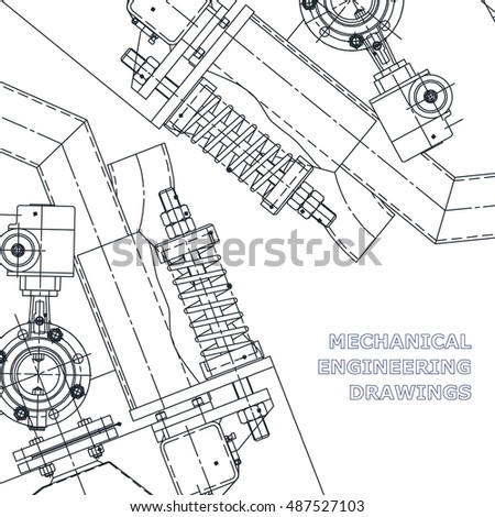 Mechanical engineering the drawing. Technical illustrations. The drawing for technical design. A cover