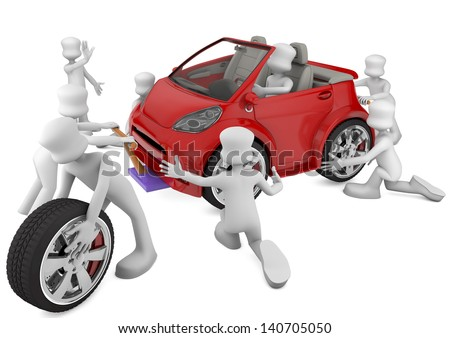 mechanical fixing a red car. 3d rendered image - stock photo