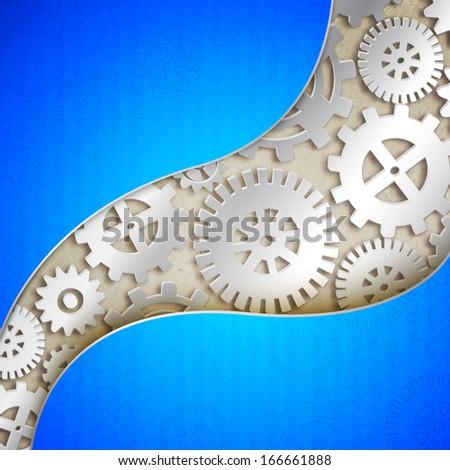 Mechanical gears background.  illustration - stock photo