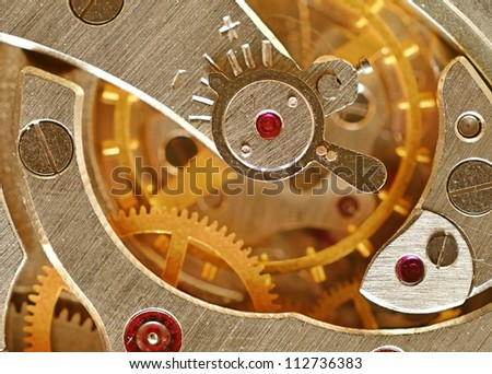 Mechanical gears close up, ancient watch