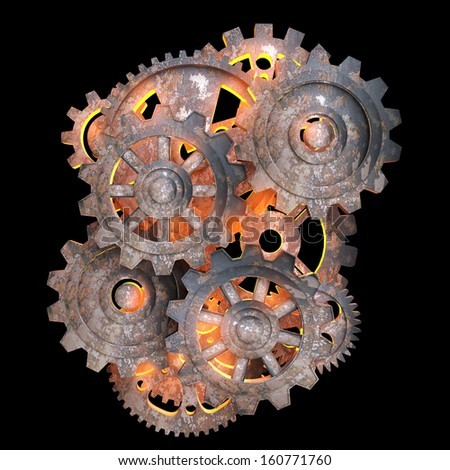 Mechanical gears of rusty metal with a red light back - stock photo