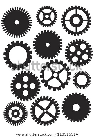 Mechanical Gears or Pulleys of Various Shapes Designs and Sizes Black and White Illustration Isolated on White Background Raster Vector - stock photo