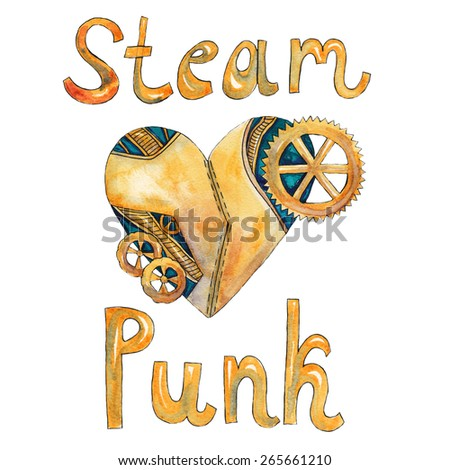 """Mechanical heart and the word """"steampunk"""". Watercolor illustration on a white background - stock photo"""