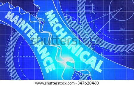 Mechanical Maintenance Concept. Blueprint Background with Gears. Industrial Design. 3d illustration, Lens Flare. - stock photo