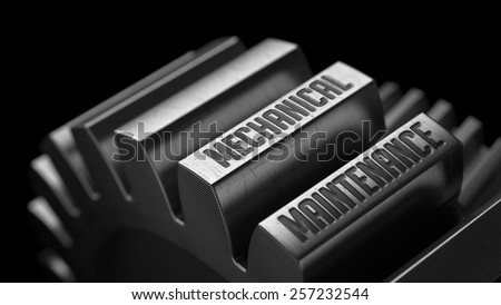 Mechanical Maintenance on the Metal Gears on Black Background.  - stock photo