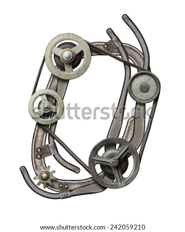 Mechanical metal alphabet letter O - stock photo