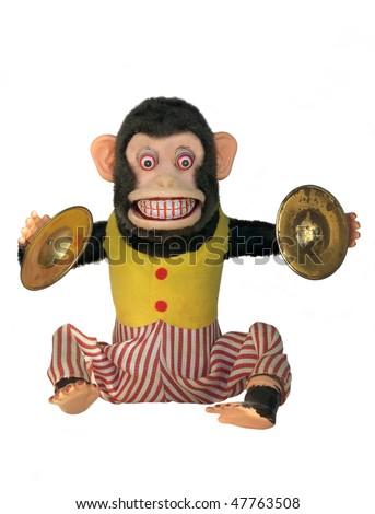 Mechanical monkey toy, full body isolated on white - stock photo