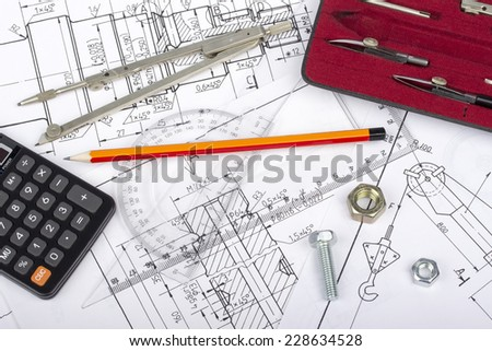 Mechanical parts drawing by designer with technical drawing tools, screw, nut, on blueprint backgrounds - stock photo