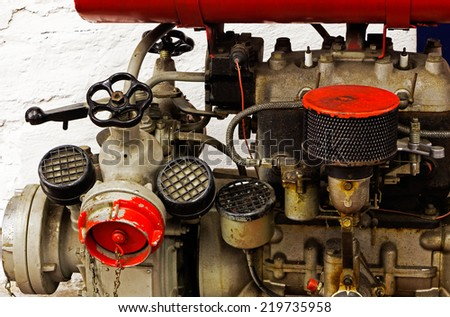 Mechanical parts of the old  engine - stock photo