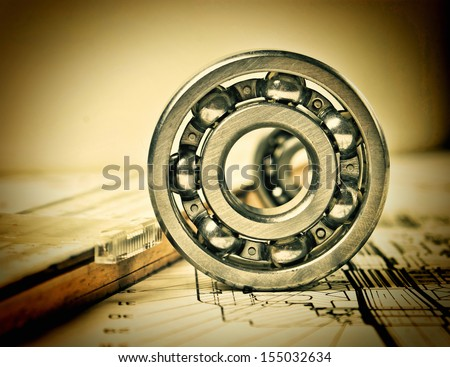 mechanical scheme and  bearing - stock photo