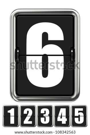 Mechanical Scoreboard Number 6 Isolated on White
