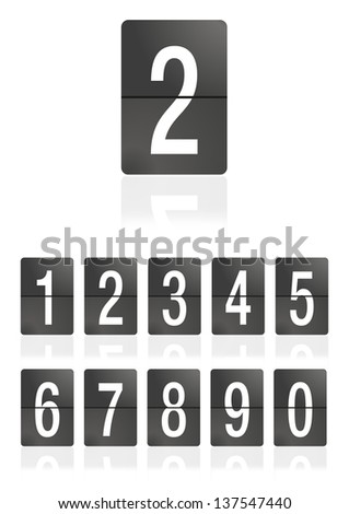 Mechanical scoreboard numbers on a white background. Number 2