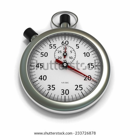 Mechanical Stopwatch with Red Needle on White Background - stock photo