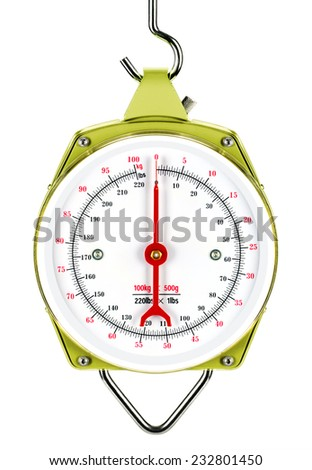 Mechanical structure, heavy, massive hanging scales, large analog dial and pointer. The front panel is protected by plexiglas structure. Vegetables, fruits, or the weighing of other objects. - stock photo