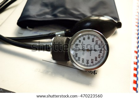 Mechanical Tonometer for blood pressure measurement. White background. Close-up.