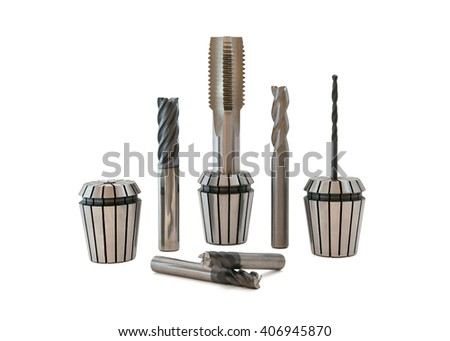 Mechanical Tools on white background - stock photo