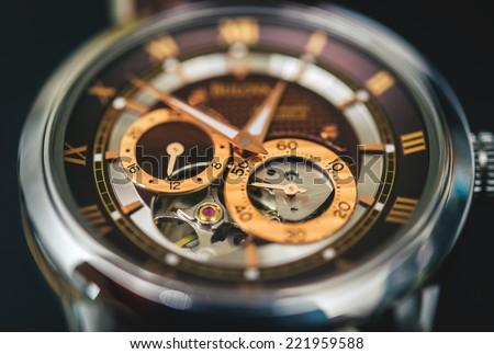 Mechanical watch up close - stock photo