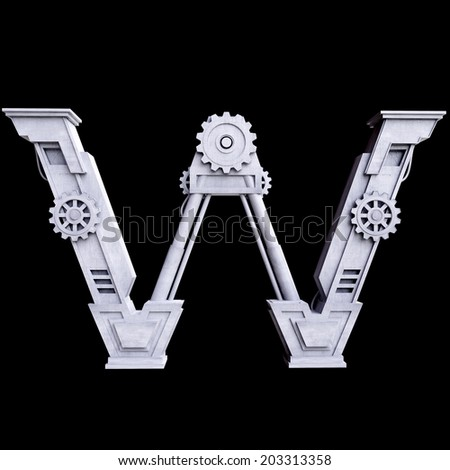 Mechanical white letters scratched metal on black background. Letter w - stock photo