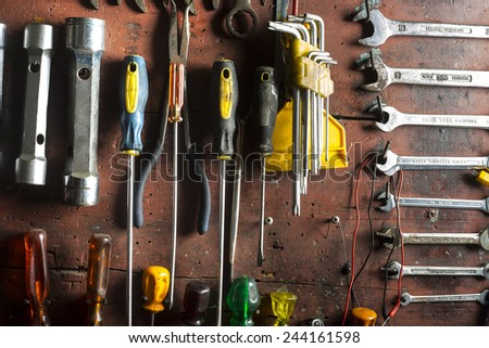 mechanical workshop tools - stock photo