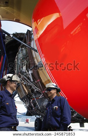 Mechanics Engineers Large Jumbo Jet Engine Stock Photo (Royalty Free ...