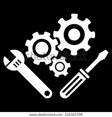 Mechanics Tools raster icon. Style is flat symbol, white color, rounded angles, black background.